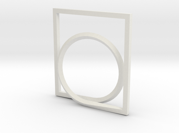 Rectangle and Circle ring in White Natural Versatile Plastic: 4 / 46.5