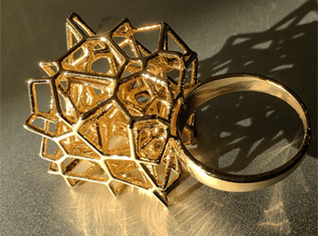 Voronoi Cube Ring (Size 7) in Polished Brass