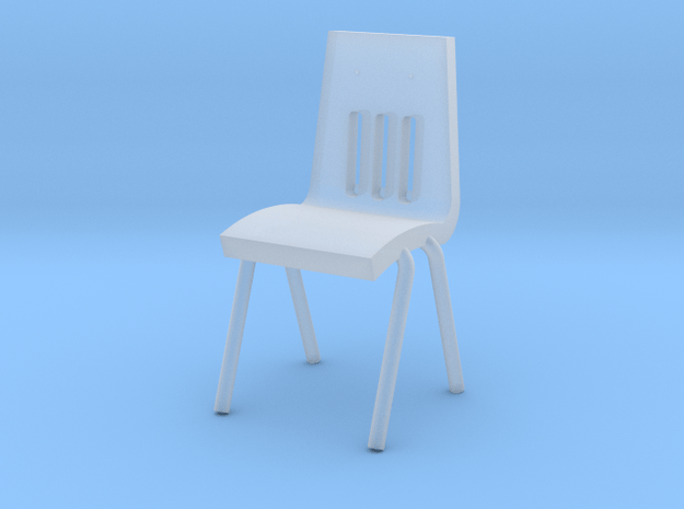 Miniature 1:48 School Chair in Smooth Fine Detail Plastic