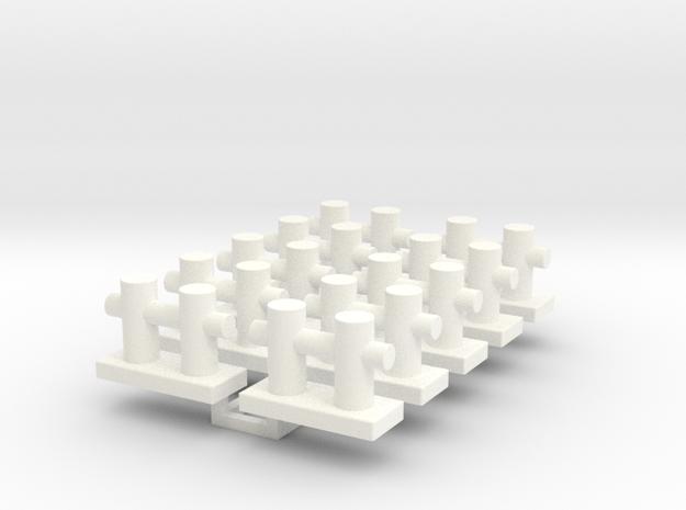 Small Bollard for tug boats 1/50 in White Processed Versatile Plastic