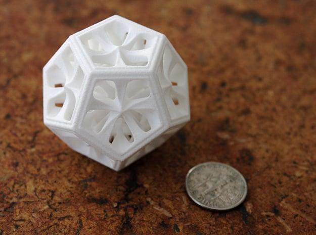 Dodecahedron in White Processed Versatile Plastic: Medium
