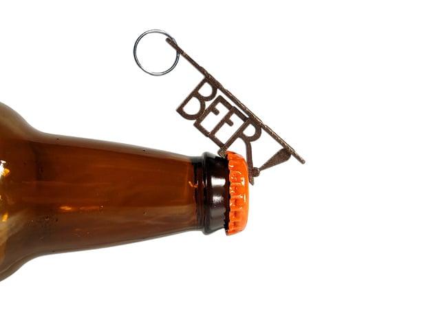 """BEER!"" Bottle Opener KeyChain - Customizable in Polished Bronze Steel"