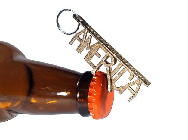 """""""America"""" Bottle Opener Keychain in Polished Bronzed Silver Steel"""