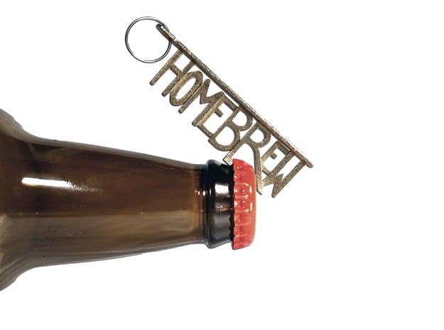 """HOMEBREW"" Bottle Opener Keychain - Customizable in Polished Bronzed Silver Steel"