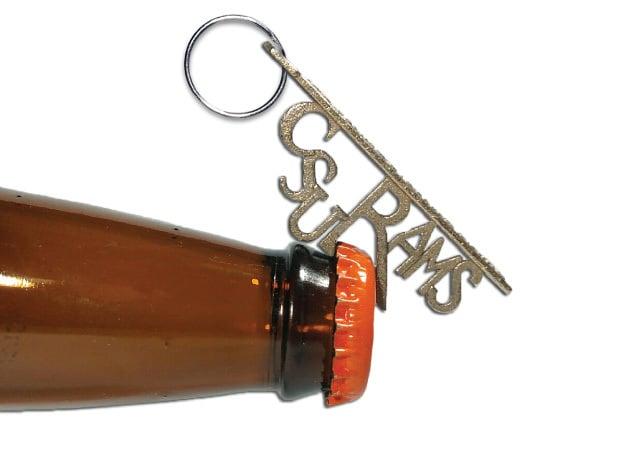 CSU Rams Bottle Opener Keychain in Polished Bronzed Silver Steel