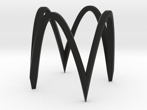 Square circle version 1 ultra small in Black Natural Versatile Plastic
