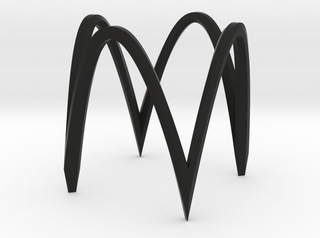 Square circle version 1 very small in Black Natural Versatile Plastic