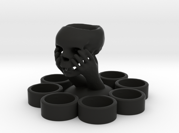 Skull In Hand Candle Holder in Black Natural Versatile Plastic