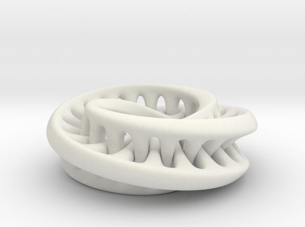 Interconnected Moebius in White Natural Versatile Plastic