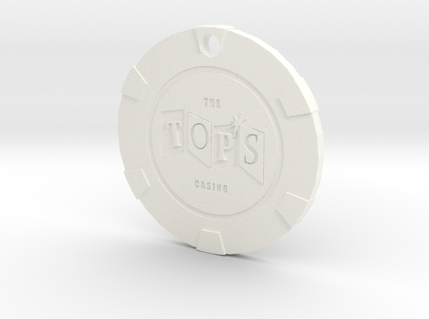 The Tops Chip Pendant in White Processed Versatile Plastic