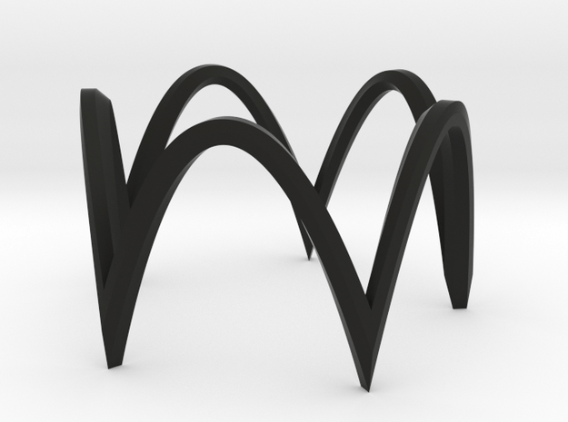 Pentagon circle version 1 in Black Natural Versatile Plastic