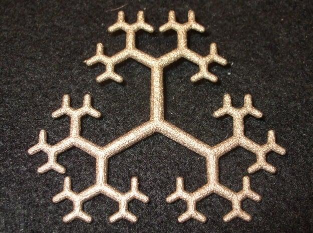 Flat Linear Trivalent Tree Pendant in Polished Bronzed Silver Steel