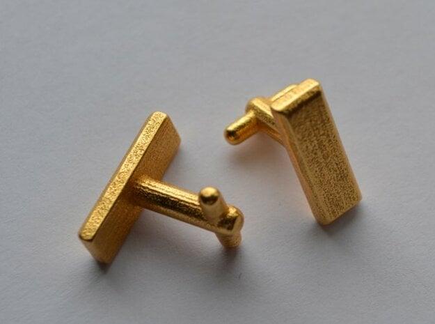Lieutenant Bar Cufflinks in Polished Gold Steel