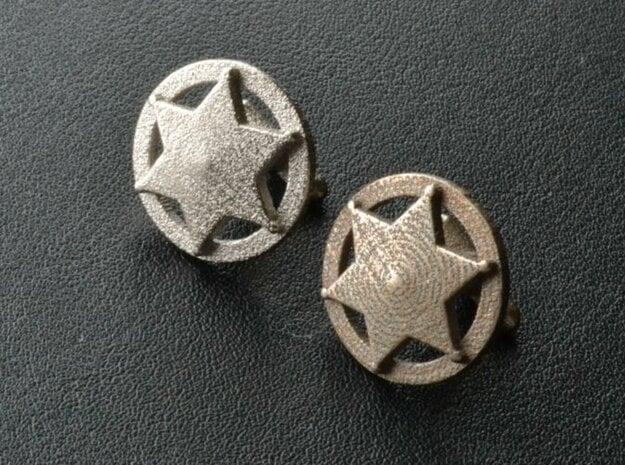 Sheriff's Star Cufflinks (Style 3) in Polished Bronzed Silver Steel