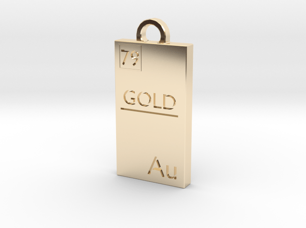 Gold Bar Pendant in 14k Gold Plated Brass