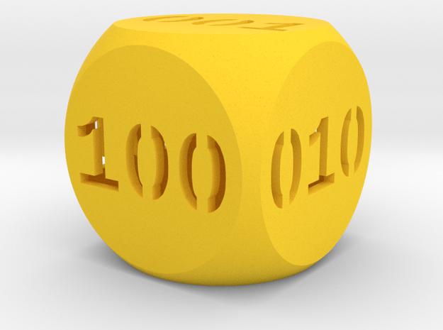 Programmer's dice in Yellow Processed Versatile Plastic