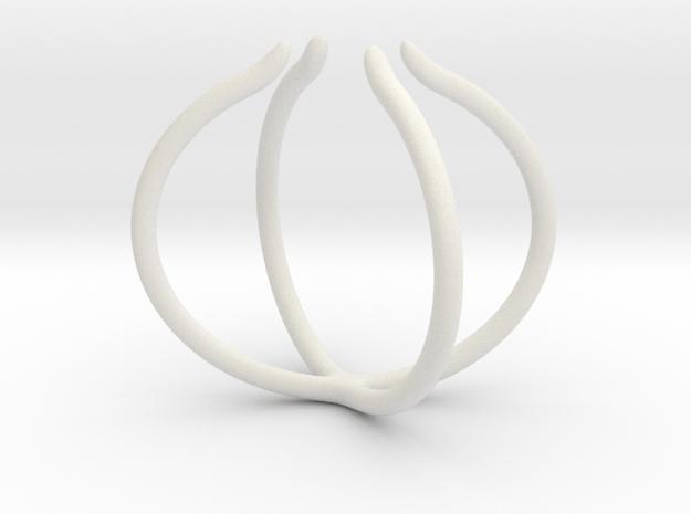 Slim Cross Ring - adjustable in White Natural Versatile Plastic: 4 / 46.5
