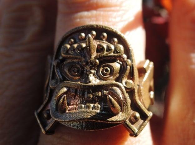 Oni-Gawara Ring in Polished Bronze