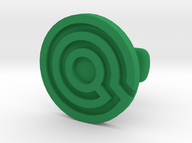 Labyrinth Cufflink Embossed in Green Processed Versatile Plastic