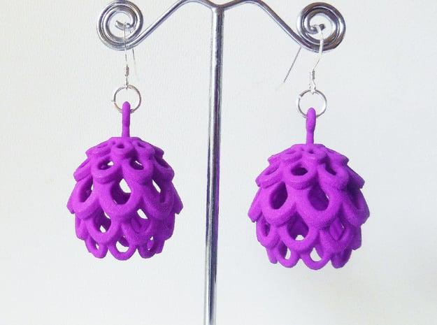 Artichoke - Pair of Plastic Earrings in Purple Processed Versatile Plastic