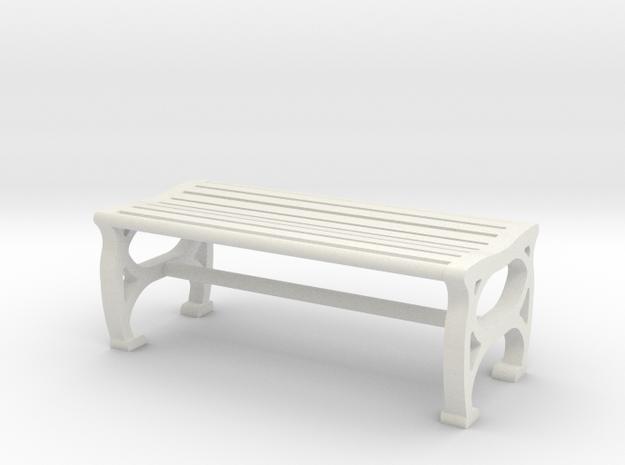 1:48 Park Bench in White Natural Versatile Plastic