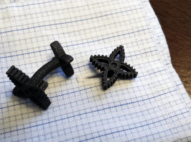 X-Gear Cufflinks in Polished Bronzed Silver Steel