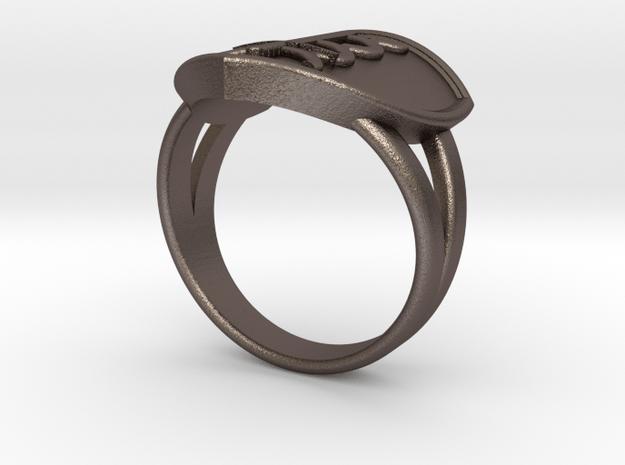 Custom Shield Ring in Polished Bronzed Silver Steel: 8 / 56.75