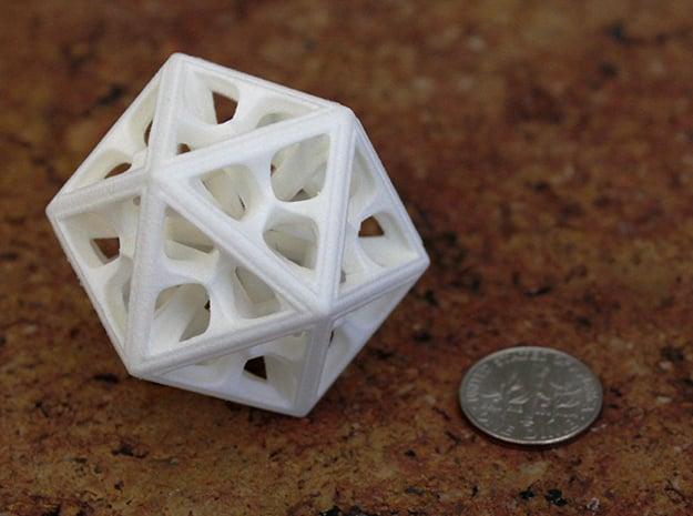 Icosahedron in White Processed Versatile Plastic: Medium