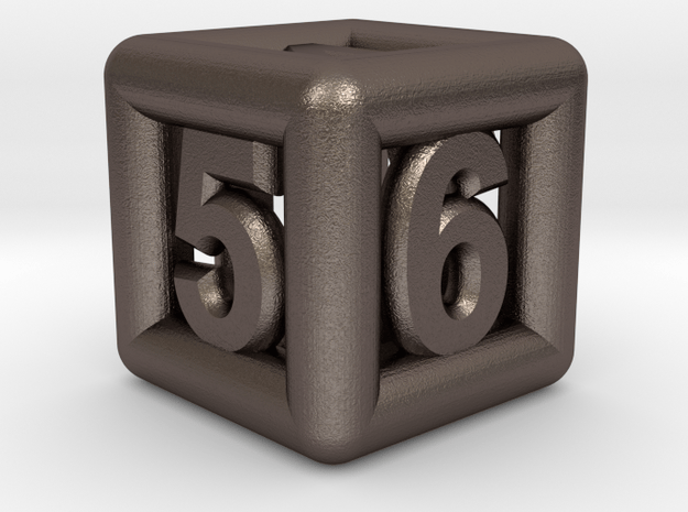 Game Dice 01 in Polished Bronzed Silver Steel: Small