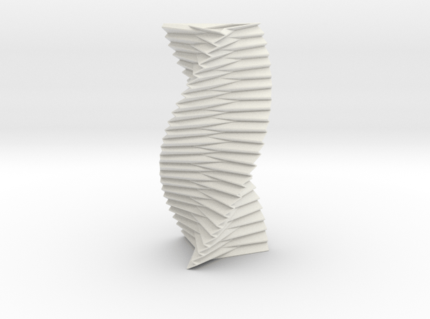 Spiral Helix Tower Three Sided  in White Natural Versatile Plastic