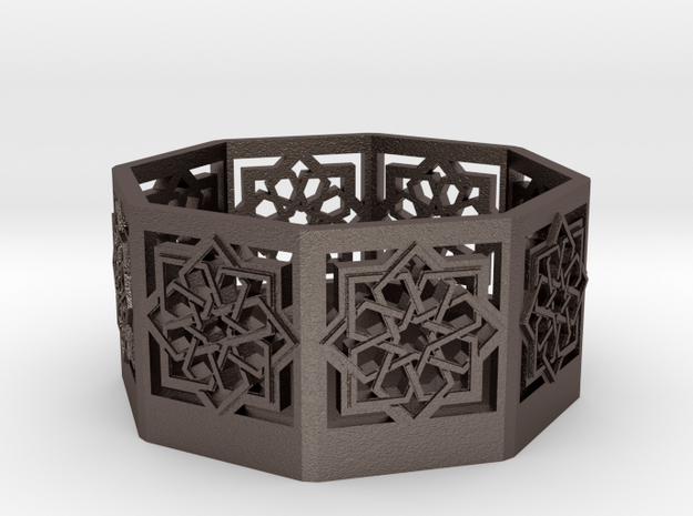 Islamic Star Knot Candle Lantern in Polished Bronzed Silver Steel
