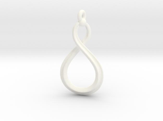 Mobius pendant for alumide  in White Processed Versatile Plastic