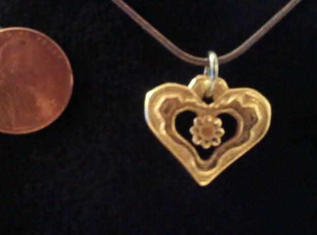 Heart Pendant with Gem holder in Polished Gold Steel