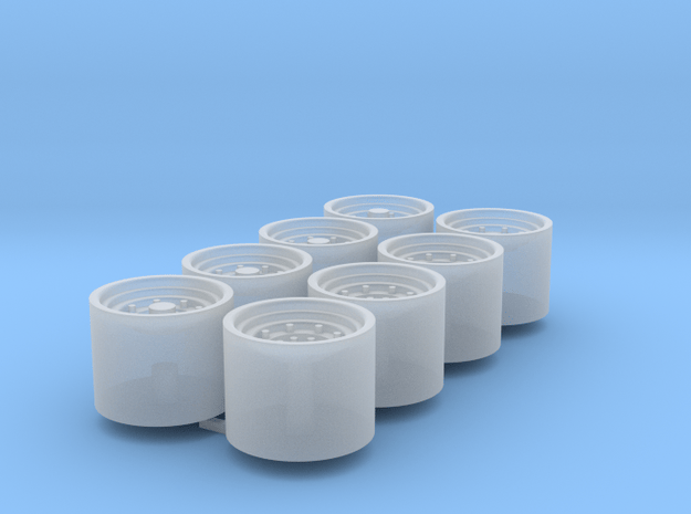 1/64 9r Wheels Duals Packaged Of 8 in Smooth Fine Detail Plastic