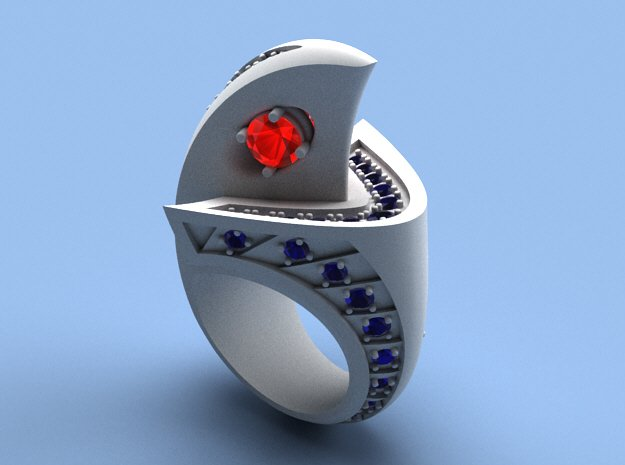 Falcon Ring with Gems - Size 12 (21.49 mm) in Polished Silver