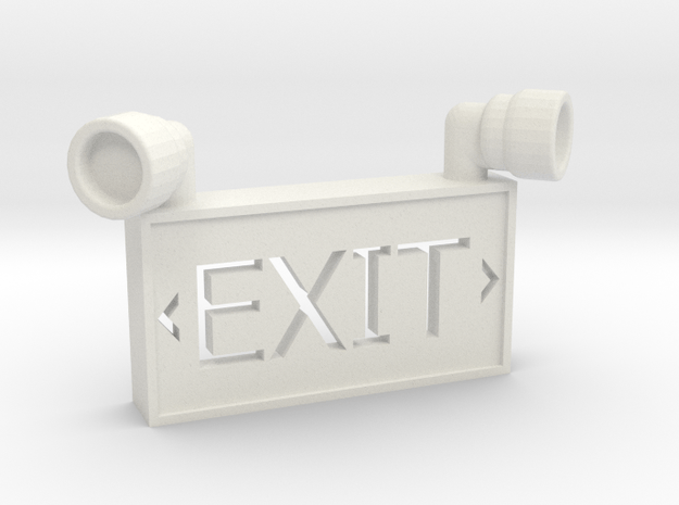 1/10 SCALE EXIT SIGN OPEN BACK in White Natural Versatile Plastic