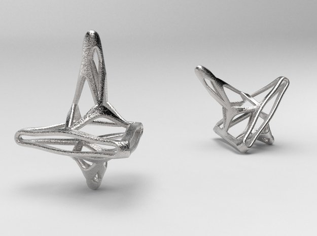 Tri-Fractal Spinning Top in Polished Nickel Steel