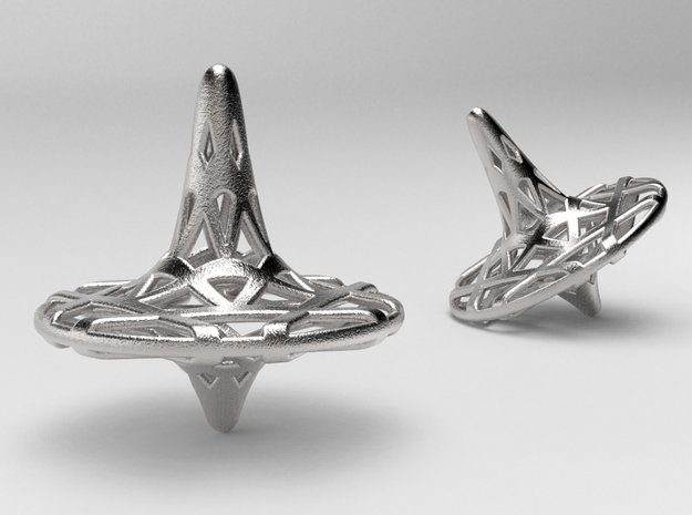 Hexa-Fractal Spinning Top in Polished Nickel Steel
