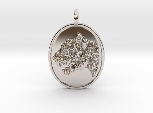 Jaguar Pendant in Rhodium Plated Brass