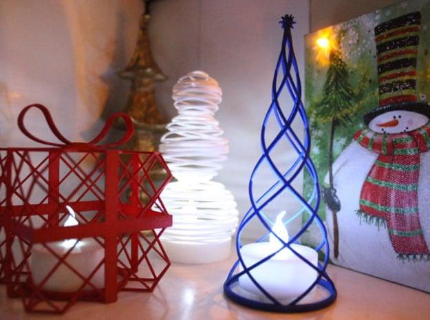 Tealight Cover - Present (2/3) in Red Processed Versatile Plastic