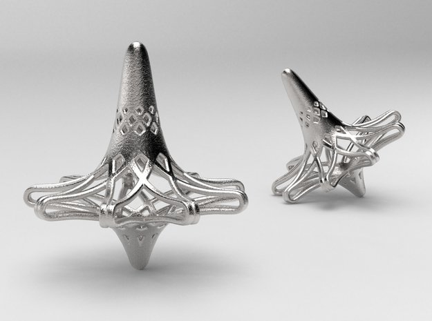 Nona-Fractal Spinning Top in Polished Nickel Steel