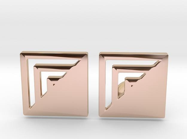 Square Designer Cufflinks in 14k Rose Gold Plated Brass