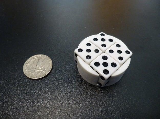 D6 Holder in White Processed Versatile Plastic