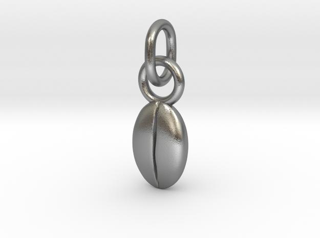 Custom coffee bean initials charm in Natural Silver (Interlocking Parts)