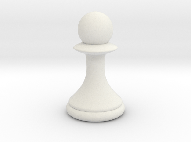 Pawns with Hats - Pawn in White Natural Versatile Plastic: Small