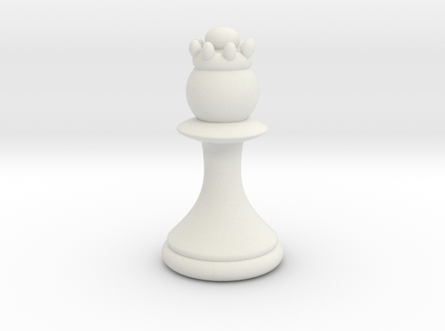 Pawns with Hats - Queen in White Natural Versatile Plastic: Small
