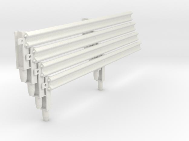 Armco Rail on 2  I-Beam Posts, 4 pcs in White Natural Versatile Plastic
