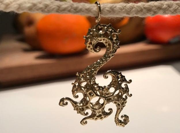 Klein Dragon Pendant in Polished Brass