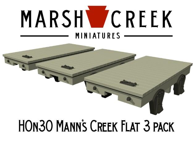 HOn30 Mann's Creek Flatcar 3 pack in Smoothest Fine Detail Plastic