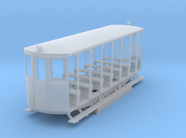 H0m BStB 262 Open Tram Trailer in Smooth Fine Detail Plastic